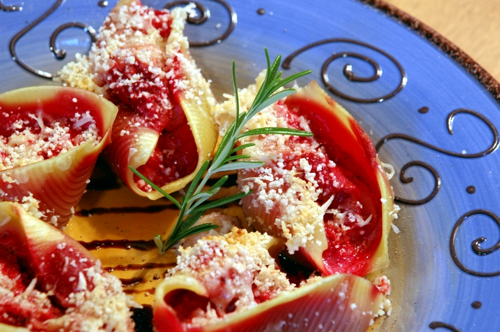 beet and ricotta stuffed shells