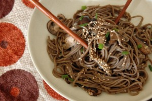 cold soba noodles with mushrooms