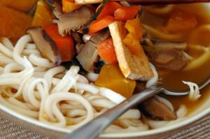 kabocha-udon noodle bowl