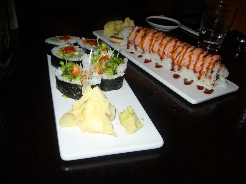 Dinner for two: Crispy Yellow Tail and Fire Dragon rolls