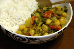 punjabi spinach and chickpeas