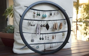 bike wheel earring dreamcatcher