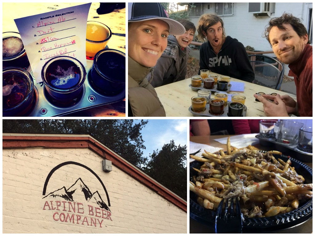 Afterwards, poutine and beer at Alpine Beer Co. with Sunday hiking buddies, Keith and Payton.
