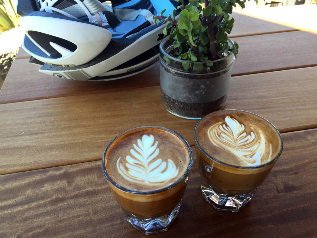 Birthday cortados at Lofty Roasting Works on the warmest, sunniest birthday I've ever had.