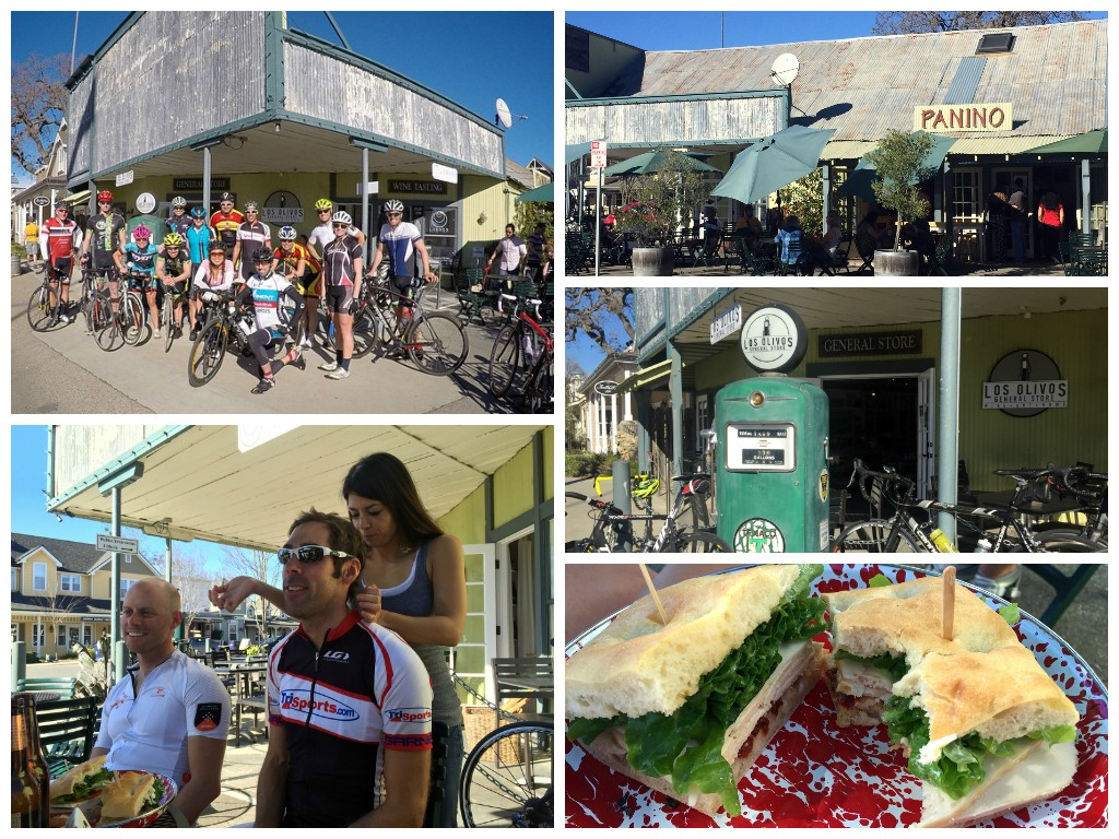 Los Olivos love: group pic, Panino, the old gas pump, an unforgettable sandwich, and mid-route massages.