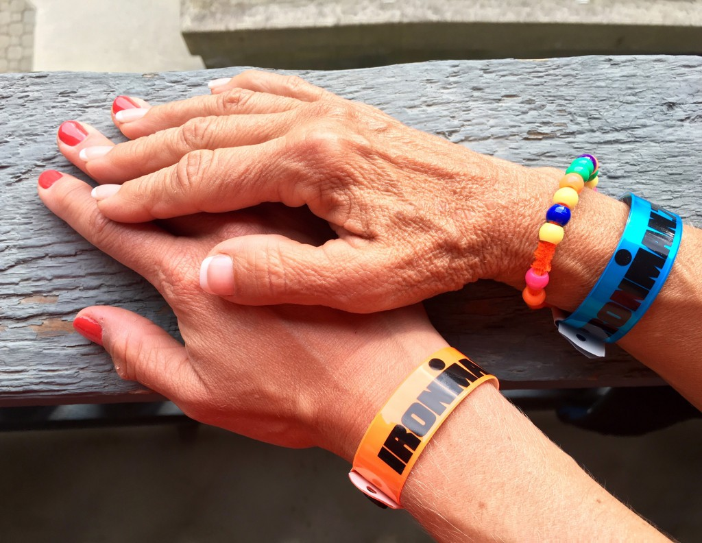 """Mom and daughter manicures and race bracelets. Color:""""Cajun Shrimp"""" to match my kit."""